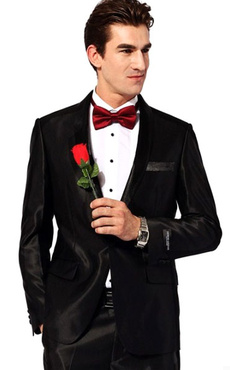 Black Groom Buttons Satin Chic Wedding Suit for Men
