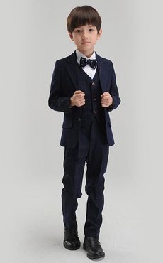 be309e989ba95 Garçon Costume Ensemble Dark Navy Ring Bearer Suits Enfants Pantalon Gilet  Chemise Bow Tie Veste Costume