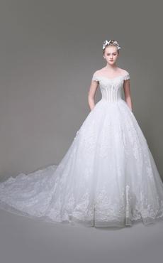 05ef282e1a Vestido de noiva tipo princesa em forma de princesa Com Cauda off-shoulder  com mangas