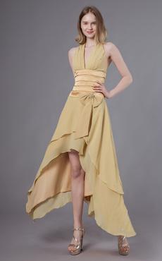 afb02f2bbbe Robes de cocktail halter asymétrique robe de soirée formelle dos nu arc  plissé