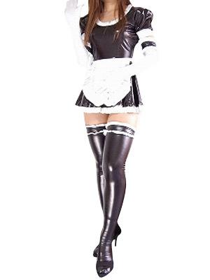 628253080e5d Halloween Black Shiny Metallic Catsuit Sexy French Maid DressC Halloween