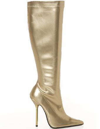 Rodilla de bota alta de charol cadena Stiletto plataforma luz oro mujeres bota NnhPhyrg