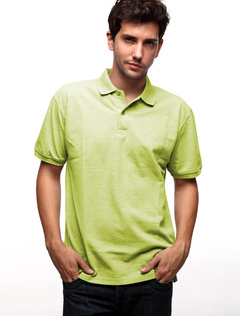 Green 60% Cotton 40% Terylene Short Sleeves Mens Polo Shirt