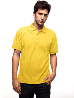 Golden Yellow 60% Cotton 40% Polyester Short Sleeves Mens Polo Shirt