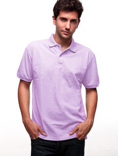 Light Purple 60% Cotton 40% Terylene Short Sleeves Mens Polo Shirt