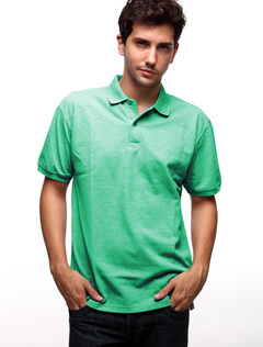 Handsome Bright Green 60% Cotton 40% Polyester Mens Short Sleeve Polo Shirt