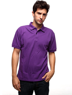 Handsome Purplish Red 60% Cotton 40% Polyester Mens Short Sleeve Polo Shirt