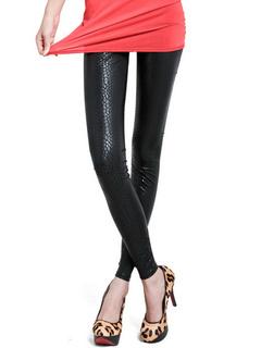 Attractive Black Spandex Polyester Women's Leggings