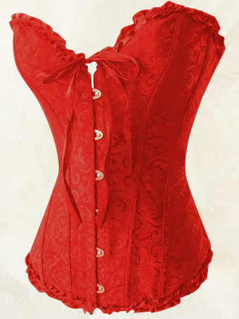 Hot Red Jacquard Sweetheart Womens Corsets