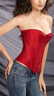 V-Shaped Hem Imitated Silk Corsets