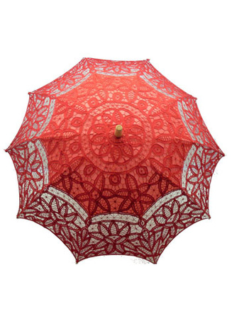 Red Cotton Stainless Steel Support Wood Handle Wedding Umbrella