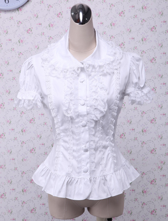 ab1649bb1dcc5 Sweet White Cotton Lolita Blouse Short Sleeves Layered Lace Trim Turn-down  Collar