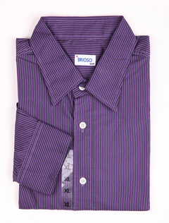 Casual Purple 100% Cotton Mens Long Sleeves Shirt