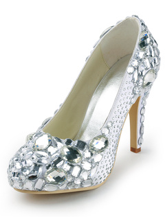 Zapatos de tacón irregular de puntera puntiaguada de PU de marfil estilo moderno para boda qlEY4dF