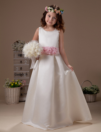 Princess White Sleeveless Flower Sash Satin Flower Girl Dress
