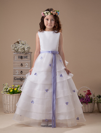 Sleeveless Sash Multi-layer Satin Organza Flower Girl Dress