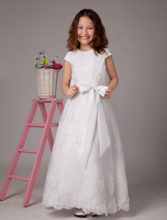 A-line White Jewel Neck Bow Ankle-Length First Communion Dress