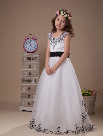 White Flower Gril Dress Bow Sash Print Organza Dress