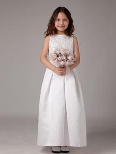 b41e97f9ada4 Vestito da ragazza di fiore bianco di pizzo alla caviglia