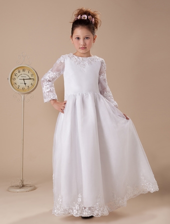 5bfd2b15e05 White Floor-Length First Communion Dresses