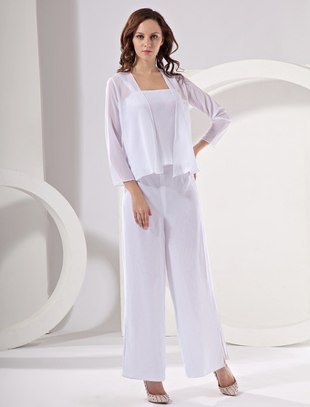 Chiffon Mother Of The Bride Pant Suits Wedding Guest Dress