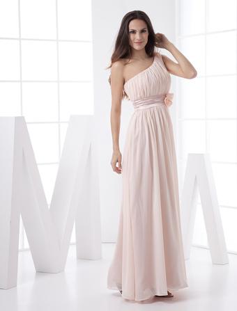 d5f07899548 Blush Pink Peach Bridesmaid Dress Chiffon One Shoulder Empire Waist Flower  Sash Maxi Prom Dress