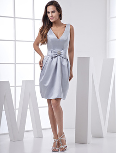 Silver V Neck Knee Length Bow Waist Satin Bridesmaid Dresses