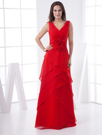 v neck multi layer chiffon satin maxi dress wedding guest dress