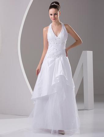 Chic robe mariage A-ligne en taffetas blanc avec applique col V longueur  plancher 53aeaa1f0ae8