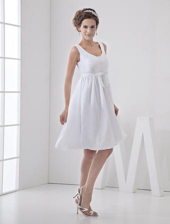 Knee-Length White Bridal Wedding Dress with Jewel Neck A-line Sash