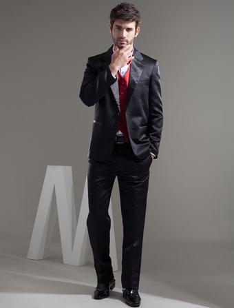 Casual Black Single Breasted Button Satin Groom Wedding Tuxedo