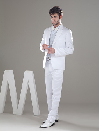 Formal White Single Breasted Button Worsted Groom Wedding Tuxedo