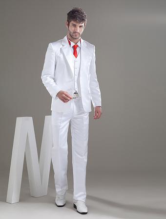Romantic White Besom Pockets Groom Wedding Tuxedo