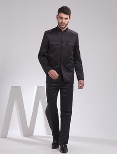 Black Worsted Chinese Tunic Men's Suit