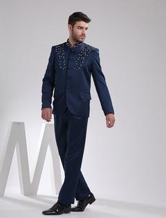 Elegant Deep Blue Embroidery Worsted Wedding Suit For Men
