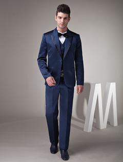 Fantastic Dark Blue Satin Groom Wedding Tuxedo