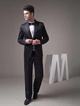 Formal Black Single Breasted Button Lapel Worsted Groom Wedding Tuxedo