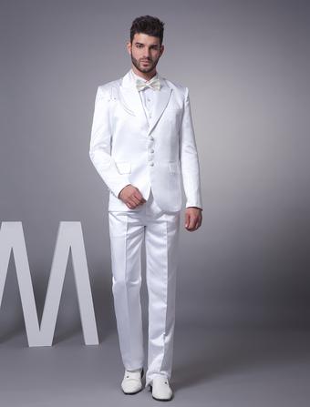 White Elegant Worsted Men's Wedding Suit