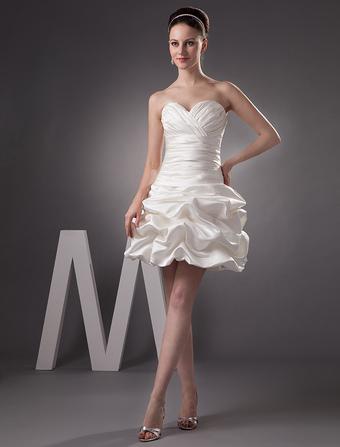 Short Wedding Dress Satin Sweatheart Bridal Dress Ivory Ruched Strapless Mini Bridal Gown