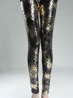 Snake Print Gold Metallic Leggings