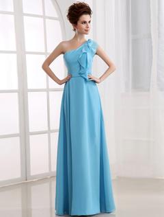 Aqua Bridesmaid Dress One Shoulder Ruffle Chiffon Floor Length Prom Dress