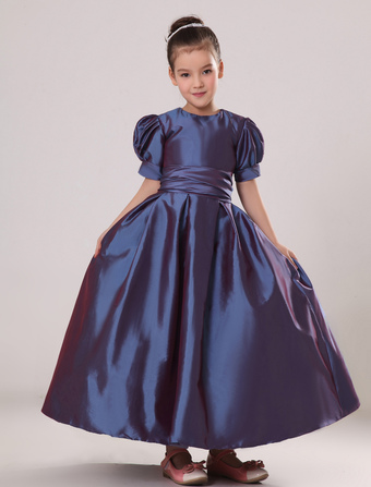 Flower Girl Dress Plum Purple Taffeta Ruched Toddlers Pageant Dress Short Sleeve Princess Floor Length Kids Party Dress