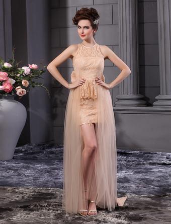 Grace Champagne Sheath Jewel Neck Bow Wedding Dress For Bride Milanoo