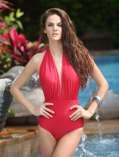 Graceful Red Halter Sexy Womens Monokini Swimsuit