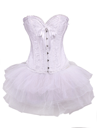 Sexy Jacquared Tulle Front Clasp Lace Womens Corsets