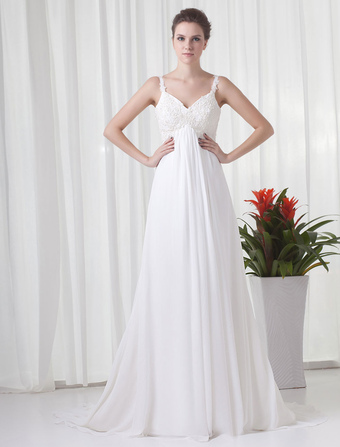 77301b4e527a Vestito da sposa bianco chiffon bretelle sottili vita alta stile impero  strascico