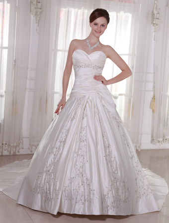 Wedding Dresses Strapless Satin Bridal Gown Pleated Embroidered Beading Dropped Waist Sweetheart Neckline Bridal Dress With Train