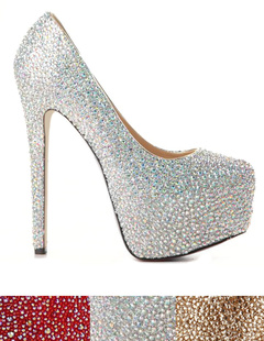 Rhinestone Beading High Heel Shoes