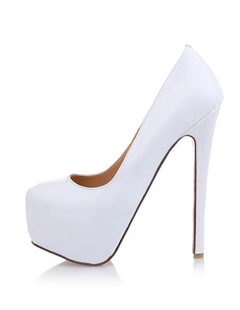 Tacones Altos Blancos de Platadema 2019 Zapatos de vestido de mujer Punta Reronda Tacones Altos