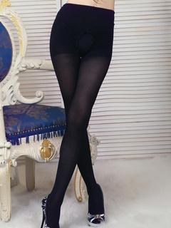 Black Solid Color Lycra Spandex Pantyhose